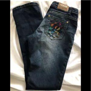 COOGI Jeans Embroidered Pockets Dark Denim 7/8 X32